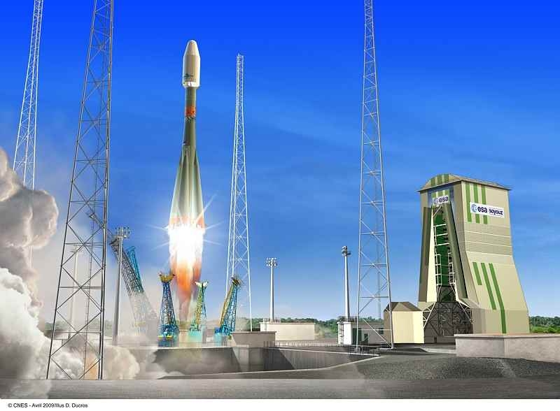 Artist's impression of the Soyuz launch from CSG ; © CNES/Ill./D.Ducros, 2009