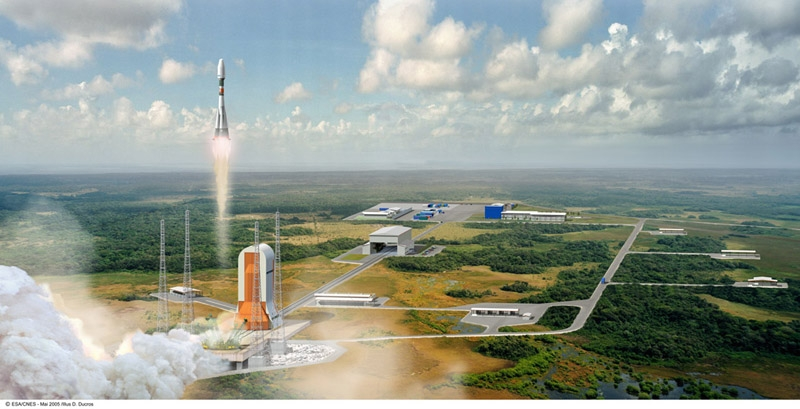 Artist's impression of the Soyuz launch site in 2008 ; credits CNES/Esa/D.Ducros