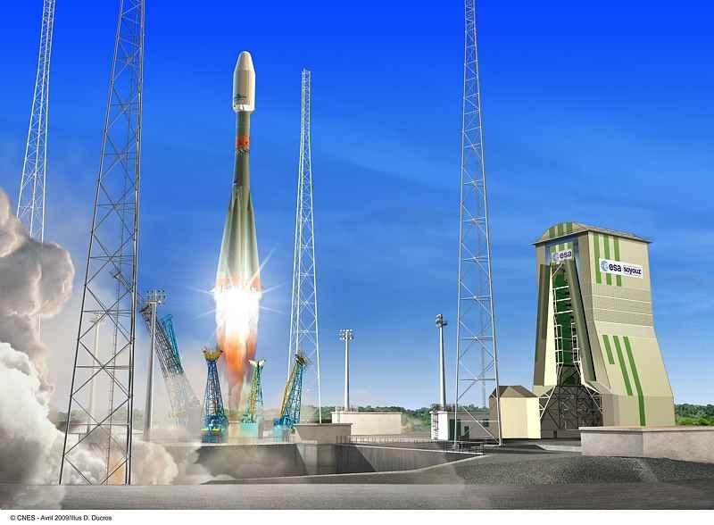 Illustration du décollage du lanceur Soyouz depuis l'ensemble de lancement au CSG © CNES/Ill./D.Ducros, 2009